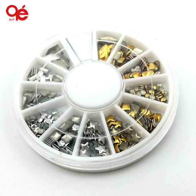 12 Style 3D Design Nail Art Tips Rhinestone & Decoration Metallic Studs Gold Silver Stud Wheel Tool For Beauty & Health