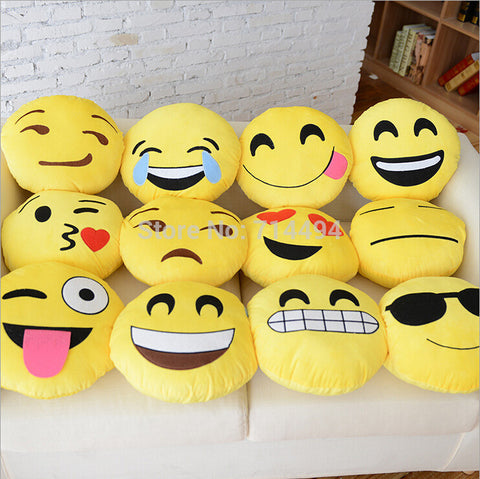12 Styles Soft Emoji Smiley Emoticon Yellow Round Cushion Pillow Stuffed Plush Toy Doll Christmas Present Free Shipping