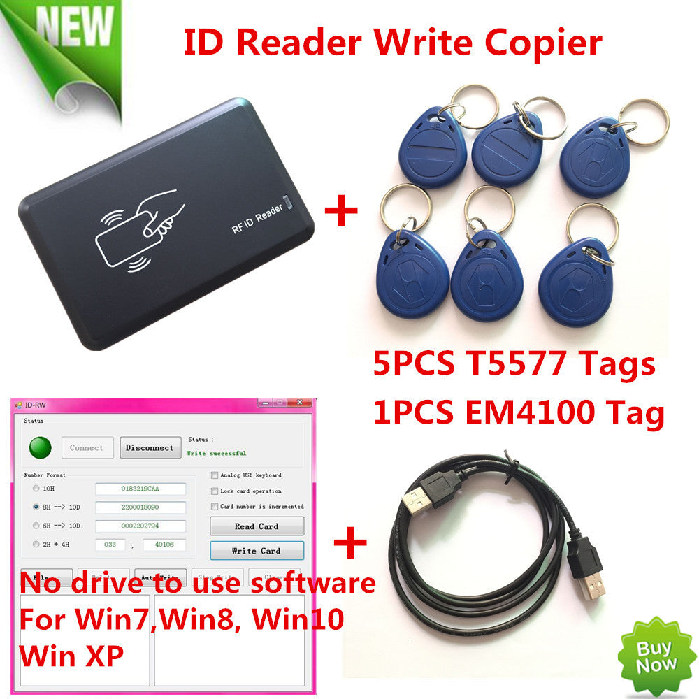 125KHZ RFID ID Card Reader Writer Copier Duplicater For Access Control+5  PCS EM4305 T5557 Tags+ DEMO Nodriver Software FreeShip