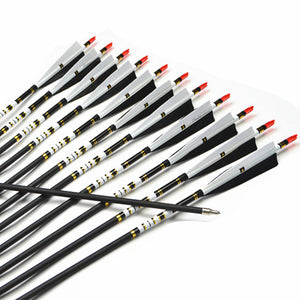 "12Pcs 31"" Spine 500 Archery Carbon Arrow For Shooting Recurve Bow 25-45lbs"