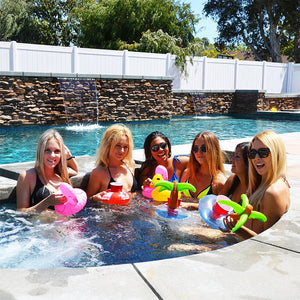 12pcs Inflatable Flamingo Coasters Palm Tree Drink Holder Pool Party Decorations Swim Floats