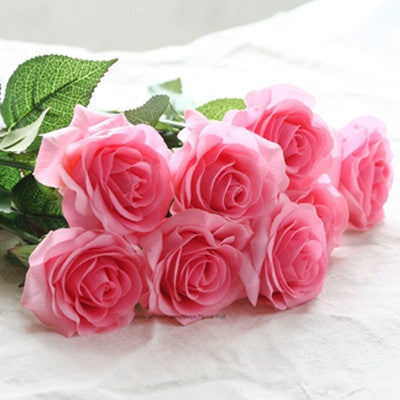 12pcs pack Real Latex Touch Rose Flowers Wedding Bouquet Home Party Design Flowers Decor Rose Artificial Flowers Silk Flowers