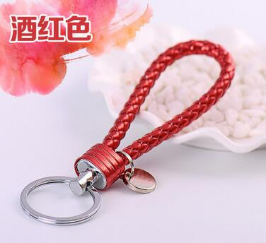 13 Colors PU Leather Braided Woven Rope DIY bag Pendant Key Chains Holder Car Keyrings Men Women Key chains