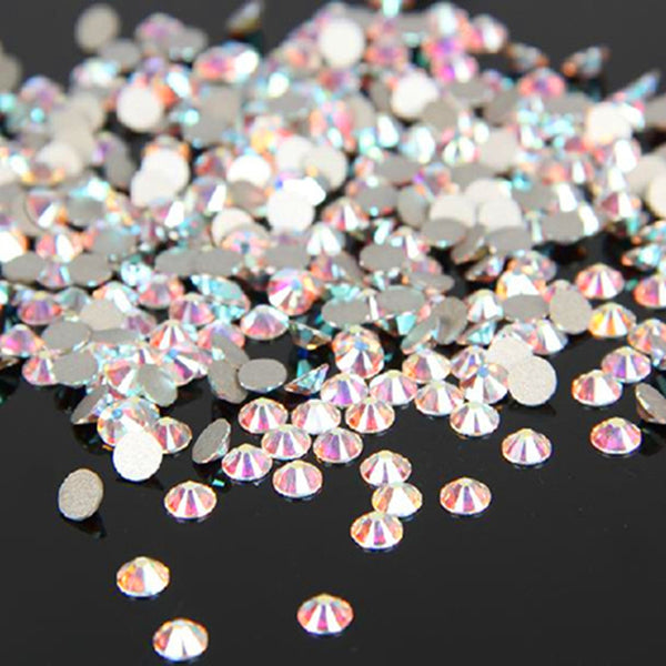 1440PCS Pack SS3-SS12 Crystal Clear AB Non Hotfix Flatback Rhinestones Nail Rhinestoens For Nails 3D Nail Art Decoration Gems