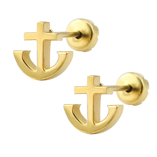 14k Gold Plated Stud Earrings 19 Styls Baby Girl Earrings High Quality Surgical Steel Kid Studs Body Jewelry Pendientes Hombre