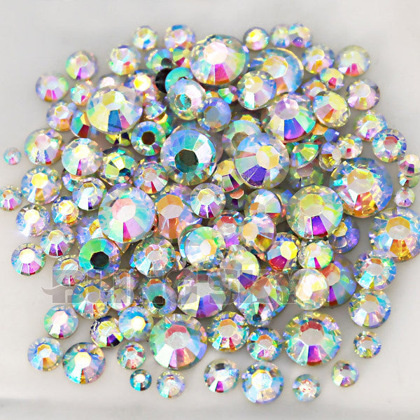 1500pcs Lot Mix Sizes Clear Round Acrylic Resin Non Hotfix Flatback Rhinestone 2mm 3mm to 6mm for 3D Nail Art Crystal Decoration