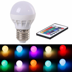 16 Color Changing LED Light Bulb with Remote Control Dimmable RGBW Multicolor LED Light 85-265V E27 3W