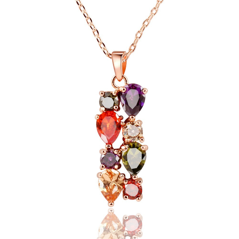 17km Trendy Copper Alloy Crystal Women Necklace