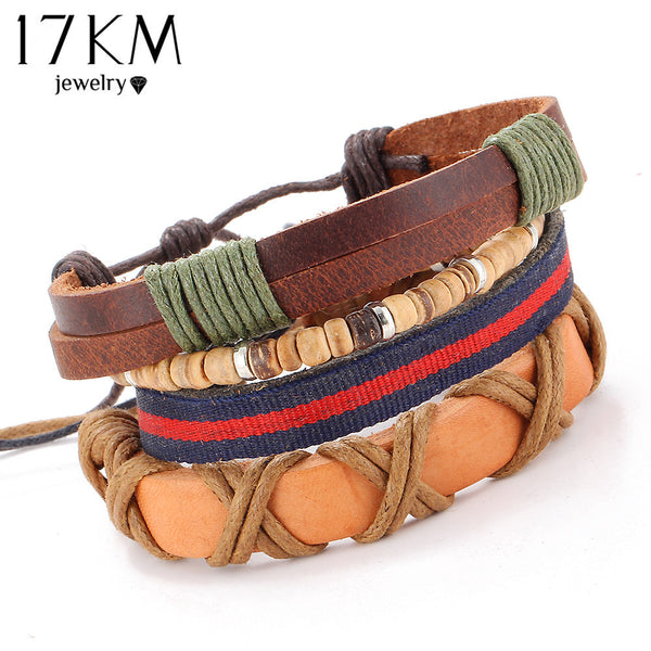 17KM 4 PCS SET Vintage Leather Bracelet 2016 Charm Beads Jewelry Wristband boho Statement Bracelet for Women Men Bijoux