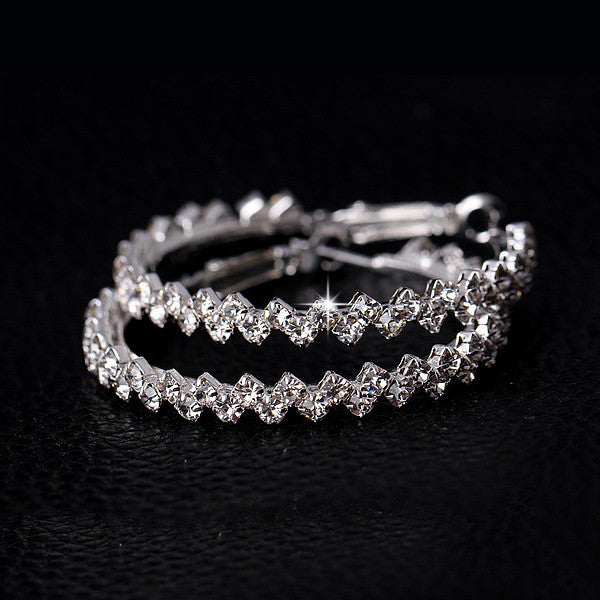 17km Hiphop Silver Plated Crystal Hoop Earrings Women