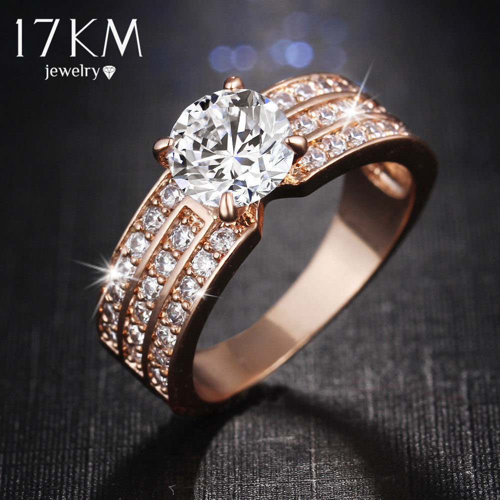 17km Trendy Gold Plated Engagement Wedding Bands Women M12