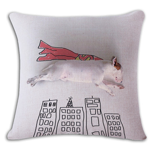 18'' Square Bullterrier Cushion Covers Dog Pet Soft Material Pillow Cases For Kids Baby Girl Boy Bedroom Decor Drop Shipping
