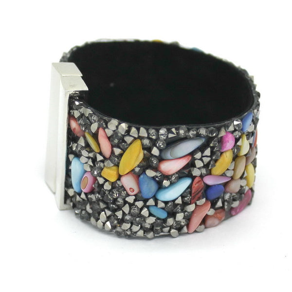 19cm Fashion Aesthetic Leather Bracelets Jewerly with Stone Trendy high quality Black Stone Manual Charm Bracelets For Women