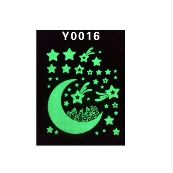 1PCS Glow Glass Wall Stickers Fluorescence Meteor Star Moon Permanent Luminous Children Room Dormitory Decoration D0