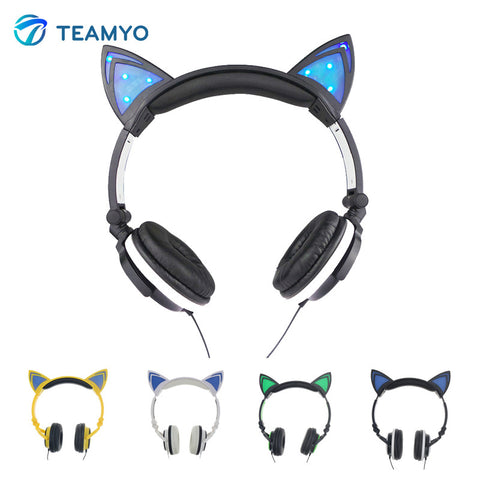 1Pc Foldable Flashing Glowing Cat Ear Headphones Gaming Music Headset Earphone With LED Light For PC Laptop Mobile Phone MP3 MP4