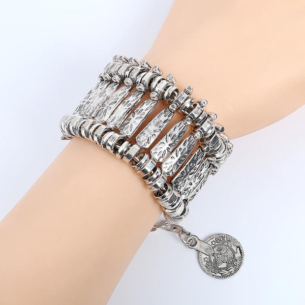 2017 Fahion Antique Silver Plated Boho Bracelets Bangles For Women Ethnic Multi Layer Beach Charm Bracelets