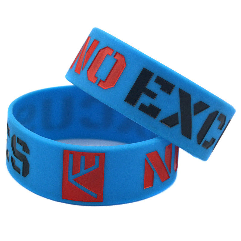 1PC No Excuse Ink-Filled Colour Motivation Silicone Wristband For Cancer Awareness Or Sports