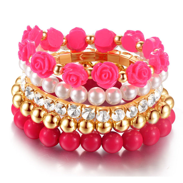 6pcs set Rose Designer Bohemian Candy Color Multilayer Beads Bracelet Bangles jewelry for women gift pulseras mujer wrist band