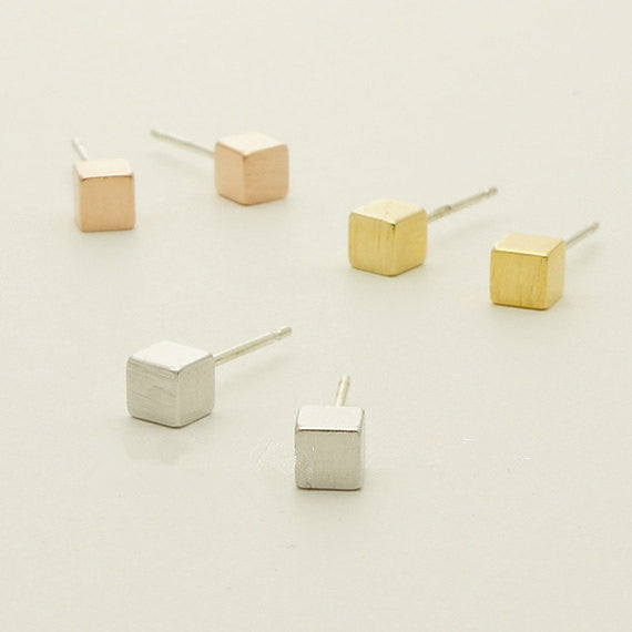 18k Gold Silver Plated Rose Gold Tiny Square stud earrings for Women Simple earrings Gift mom Birthday Gift S082