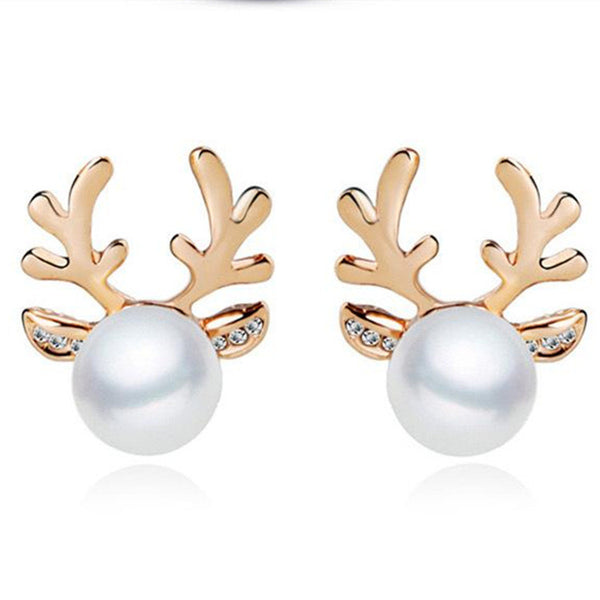The 2016 New Fashion Cute Animal Antlers Deer Antlers Gold Plated Silver Pearl Jewelry Rhinestone Stud Earring For Women