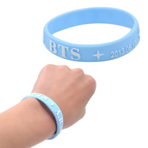 1 piece Hot Kpop Star BTS Silicone Wristband BTS Fan Support Rubber Bracelet Jewelry