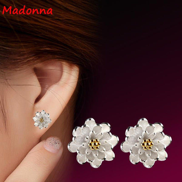 2016 High Quality Cz diamond Gold plated Silver Earrings For Women Jewelry Beautiful Flower Design Wholesale