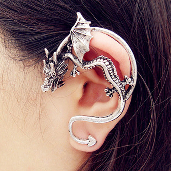 1Pcs Earrings Man Retro Vintage Black Bronze Punk Dragon Bite Ear Cuff Clip Earrings For Women Fashion Jewelry Bijouterie