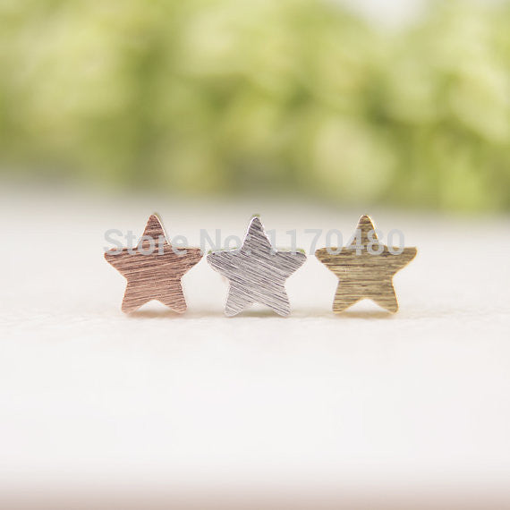 2016 New Fashion Tiny Cute Gold Plated Little Five Star Studs Earrings for Women Party Gifts ED025