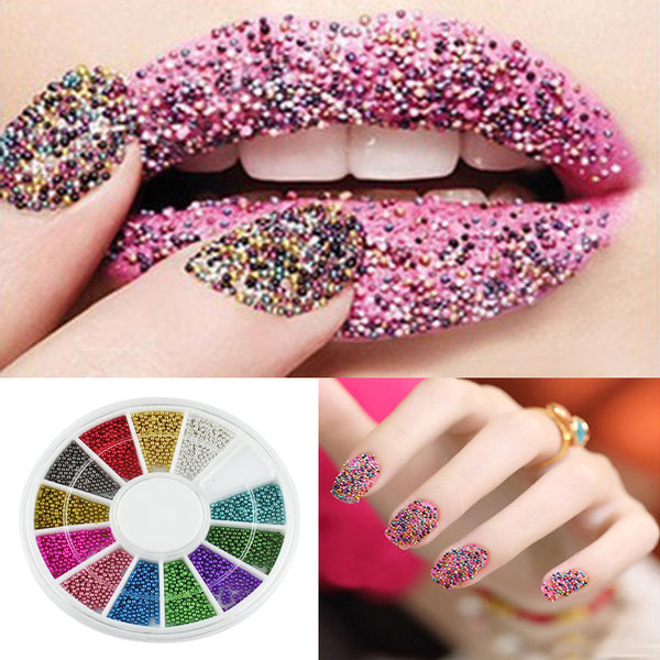 1Box=12Color Rhinestones For Nails Stickers 3D Nailart Decals 3D Nail art Charms Nails Decorations Water Decals Strass Ongles