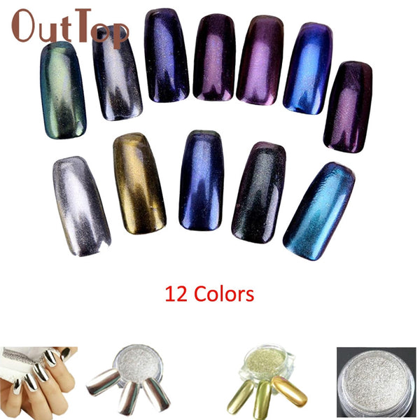 1g Box Gold Sliver Nail Glitter Powder Shinning Mirror Eye Shadow Makeup Powder Dust Nail Art DIY Chrome Pigment Glitterst SEP02