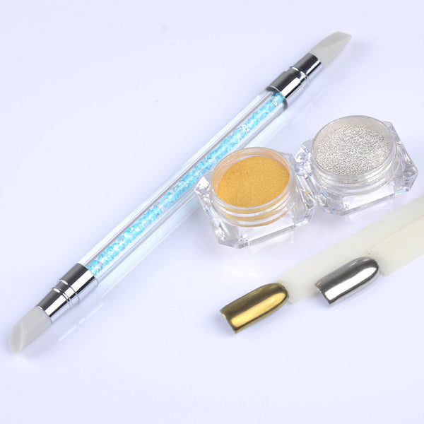 1g box Shinning Mirror Glitter Powder with Carving Silicone Brush Manicure Nail Art Decoration