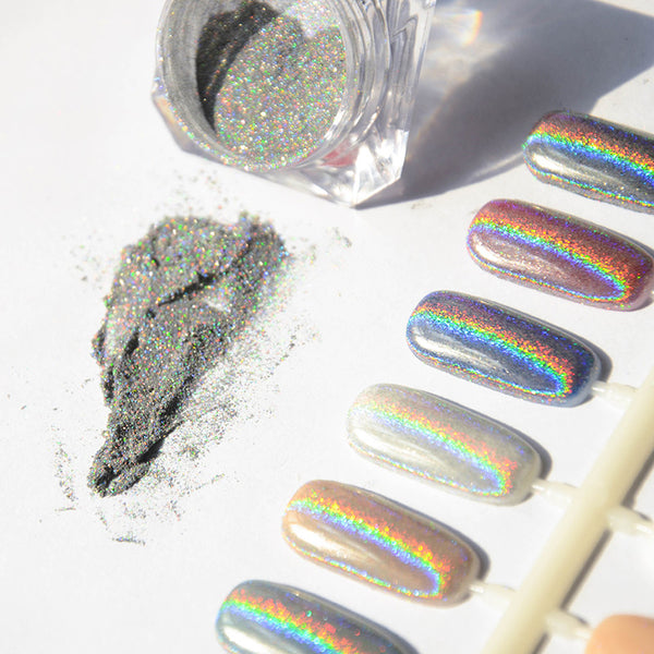 1g Box Shiny Laser Nail Powder Holographic Nail Glitter Dust Rainbow Chrome Pigment Manicure Pigments Nail Art Decorations