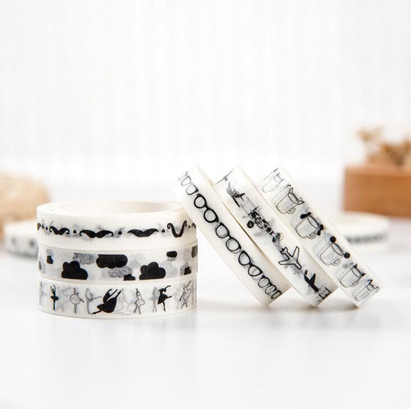 1J2A-M 0.9cm Wide Slim Simple Black White Symbols Decorative Washi Tape DIY Scrapbooking Masking Tape School Office Supply