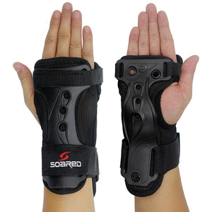 1pair Adjustable Snowboard Ski Protective Gear Glove Lengthened Wrist Roller Skating Palm Care Gauntlets Support Guard Pad Brace