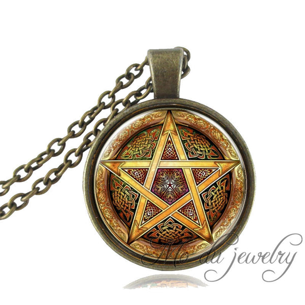 1pc Baphomet Inverted Pentagram necklace goat head pendant glass dome Baphomet Jewelry Satanism jewelry women men necklace gift