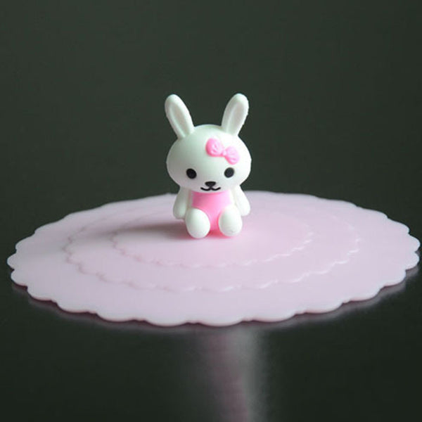 1PC Cute Rabbit Pattren Magic Leakproof Silicone Coffee Mug Suction Lid Cap Sealed Cup Cover a2
