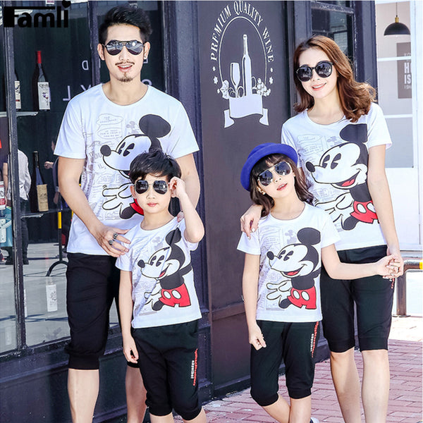 1pc Family Matching Clothes Father Son Mother Daughter T-shirts Outfits Summer Short Fashion Cartoon T-Shirts Clothes Set