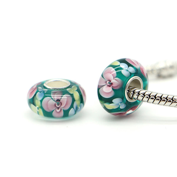 1Pc Fashion High Quality Green Color Pink Flowers Crystal Bead European Beads Fit Pandora Charm Bracelet Bangles Necklace
