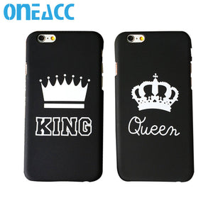 1Pc Fashion Luxury King Queen Coque For iPhone 5 5S 5SE 6 6S Plus Phone Cases PC Back Matte Covers Caso Free Shipping