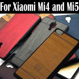 1pc for Xiaomi mi4 case mi5 mi5S cover wood vintage style PU leather with Plastic 2016 NEW design total 7 colors available