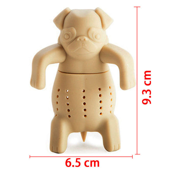 1Pc Lovely tea infuser Pug In A Mug Silicone Tea Infuser Kawai Portable Dog Tea Strainers Free Shipping