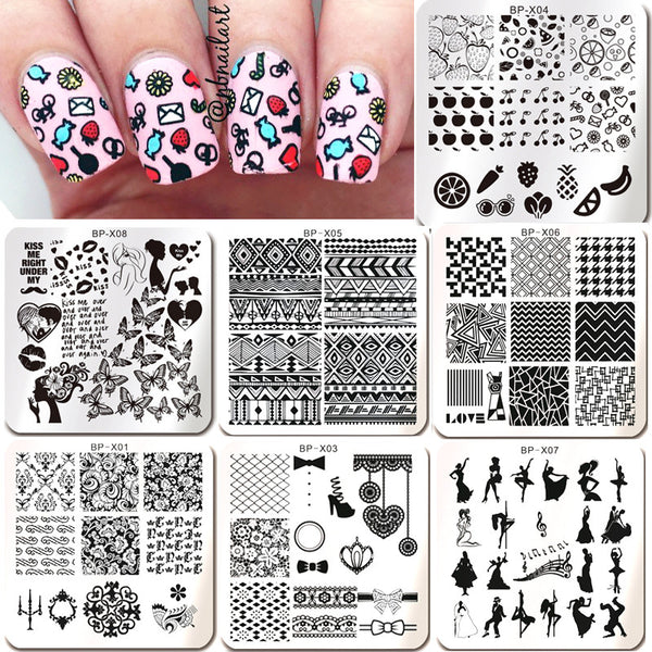 1PC New Born Pretty Nail Stamping Plates Flower Butterfly Fruit Pattern Nail Art Stamp Plate Image Template Decorations BPX01-08