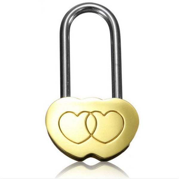 1PC NEW Padlock Love Lock Engraved Double Heart Valentines Anniversary Day Gifts