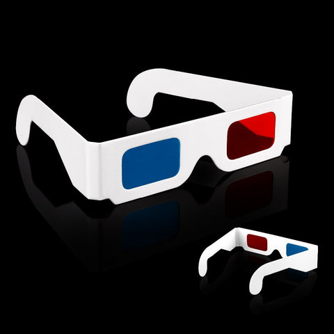 1pc Paper 3D Glasses 3d virtual video View Anaglyph Red Cyan Red Blue 3d Glasses free shipping+ hot selling
