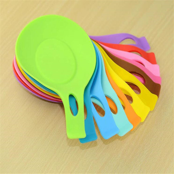 1Pc Silicone Spoon Insulation Mat Silicone Heat Resistant Placemat Drink Glass Coaster Tray hot sale Spoon Pad Kitchen Tool