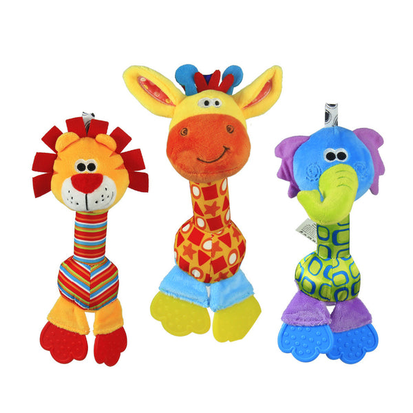 1pc Soft Baby Toy 22cm Cartoon Animal Teether Rattle Squeaker BB Sounder Early Educational brinquedos juguetes