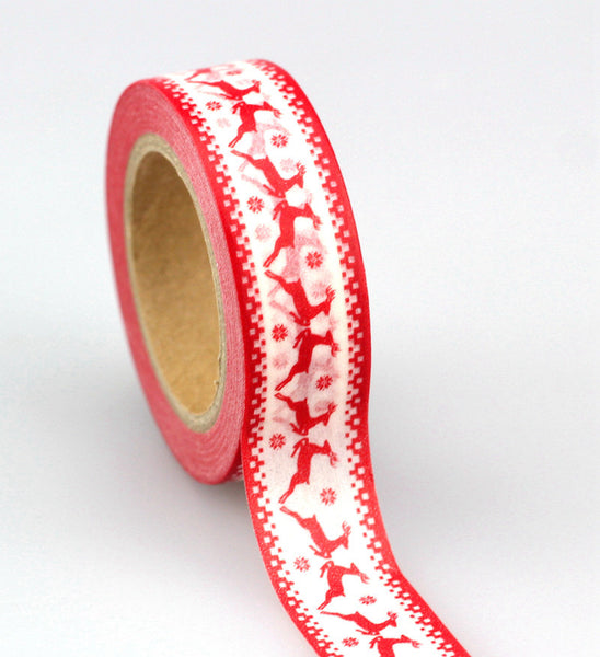 1pc Tape Christmas set red heart color Scrapbooking DIY Sticker decorative adhesive tape Japanese washi tape masking tape 10m
