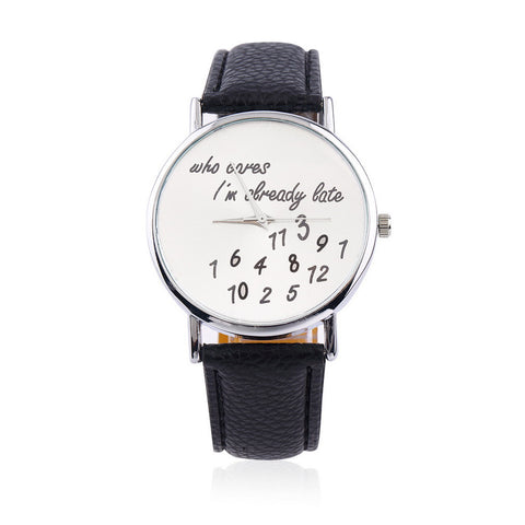 1pc Women Men Late Printed WristWatches Wrist Watches New Fashion Funny Comment Women Men