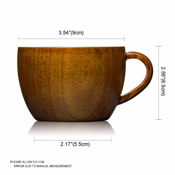 1PC Wooden Milk Tea Cups Coffee Handmade Cup with Handle 260ml Mug Cup Drinkware Tableware Water Drinking Free Shipping