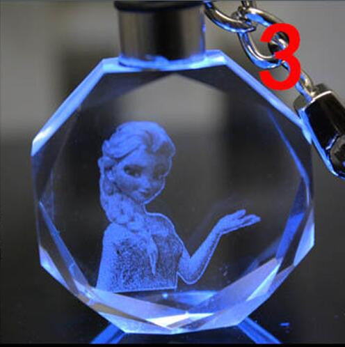 1pcs Colorful LED Crystal Keychain Anna Elsa Olaf KeyRing Gifts Action toy figure 18 style
